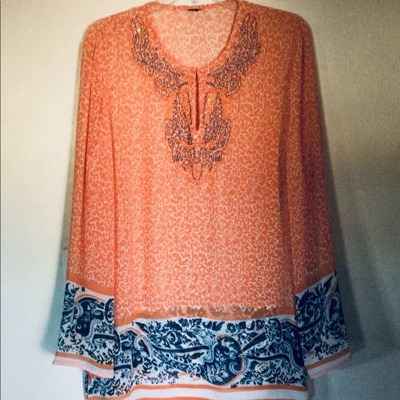 Embroidery Orange Swirl Shear Beach Cover Tunic XL